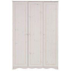 Bílá třídveřová šatní skříň z masivního borovicového dřeva Støraa Amanda