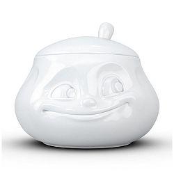 Bílá usměvavá cukřenka z porcelánu 58products