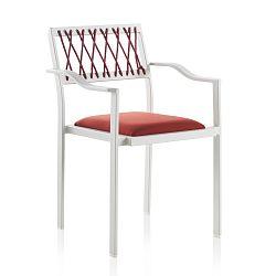 Bílá zahradní židle s červenými detaily a područkami Geese Seally
