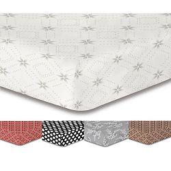 Bílé elastické prostěradlo se vzorem DecoKing Hypnosis Snowynight, 220x200cm