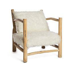 Bílé křeslo s konstrukcí z teakového dřeva Simla Simple