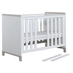 Bílo-šedá dětská postýlka Pinio Mini, 120x60cm