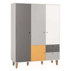 Bílo-šedá třídveřová šatní skříň se žlutým detailem Vox Concept