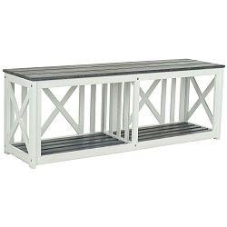 Bílošedá zahradní lavice z akáciového dřeva Safavieh Branco Grey