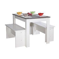 Bílošedý jídelní stůl se 2 lavicemi Symbiosis Pearl