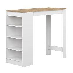 Bílý barový stolek s deskou v dekoru dubového dřeva Symbiosis Aravis
