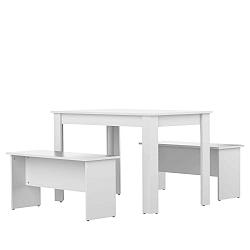 Bílý jídelní stůl se 2 lavicemi TemaHome Nice