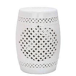 Bílý keramický stolek vhodný do exteriéru Safavieh Marbella, ø33cm