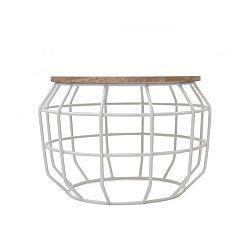 Bílý konferenční stolek s deskou z mangového dřeva LABEL51 Pixel, ⌀56 cm