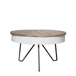 Bílý konferenční stolek s deskou z mangového dřeva LABEL51 Saria
