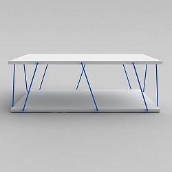 Bílý konferenční stolek s modrým detailem Rafevi Tars