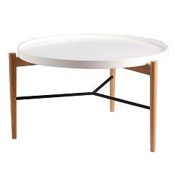 Bílý konferenční stolek s přírodní konstrukcí sømcasa Eric