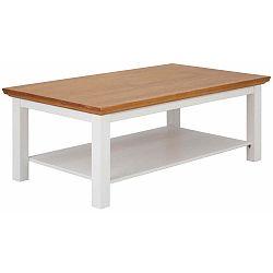 Bílý konferenční stolek z masivního borovicového dřeva s přírodní deskou Støraa Monty