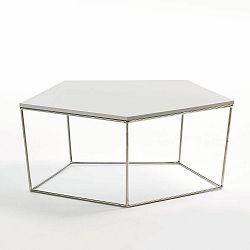 Bílý konferenční stolek ze dřeva Thai Natura, ⌀ 95 cm