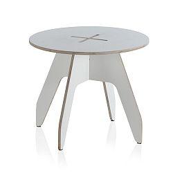 Bílý kulatý dětský stůl z překližky Geese, ⌀ 60 cm