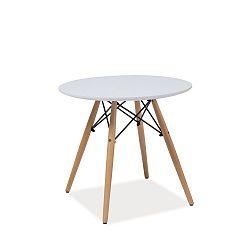 Bílý kulatý stůl s nohama z kaučukového dřeva Signal Soho, ⌀90cm
