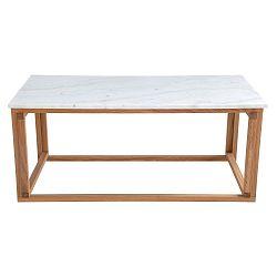 Bílý mramorový konferenční stolek s podnožím z dubového dřeva RGE Accent, šířka110cm