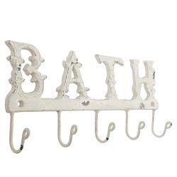 Bílý nástěnný věšák s háčky Clayre&Eef Bath