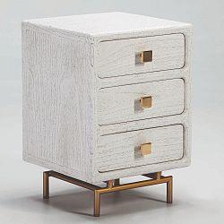 Bílý noční stolek se třemi zásuvkami Thai Natura