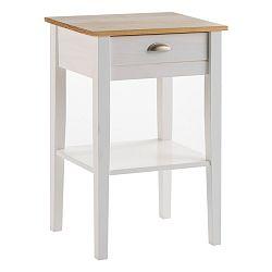 Bílý noční stolek z masivního borovicového dřeva se zásuvkou Marckeric Jade