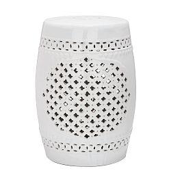 Bílý odkládací keramický stolek Safavieh Marbella