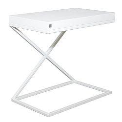 Bílý odkládací stolek Take Me HOME, 50x30cm