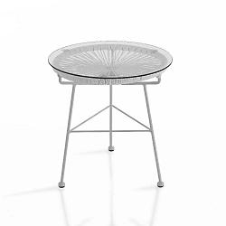 Bílý odkládací stolek vhodný do exteriéru Tomasucci Numana