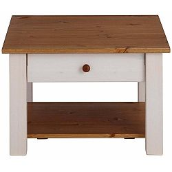 Bílý odkládací stolek z masivního borovicového dřeva s hnědými detaily Støraa Yvonne, 60x60cm