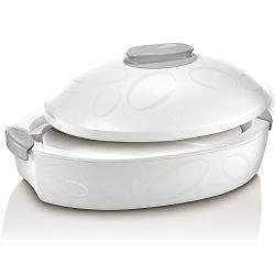 Bílý oválný termo box se zapékací mísou Enjoy Gourmet, 3 l