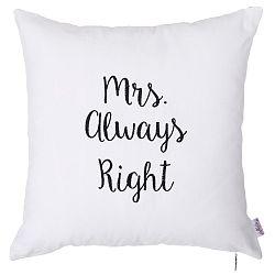 Bílý povlak na polštář s výšivkou Apolena Mrs Always Right, 41 x 41 cm