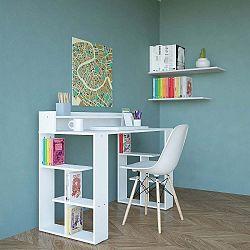 Bílý pracovní stůl Requel, šířka 120 cm