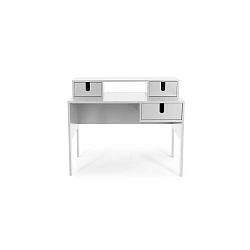 Bílý pracovní stůl se 3 šuplíky Tenzo Uno