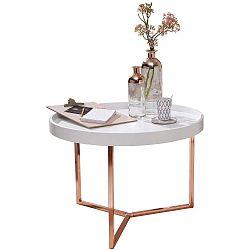 Bílý příruční stolek s nohami v měděné barvě Skyport Wohnling Eva, ⌀ 58,5 cm