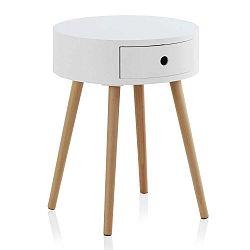 Bílý příruční stolek se šuplíkem a nohami z bukového dřeva Geese Nordic Style Perso