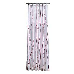 Bílý sprchový závěs s detaily v červené barvě Zone Flow
