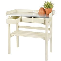 Bílý stolek z borovicového dřeva na přesazování květin Esschert Design Farma