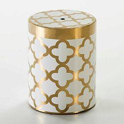 Bílý taburet s detailem ve zlaté barvě Thai Natura