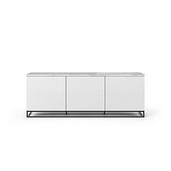 Bílý televizní stolek s bílou deskou a černými nohami TemaHome Join, 180 x 65 cm