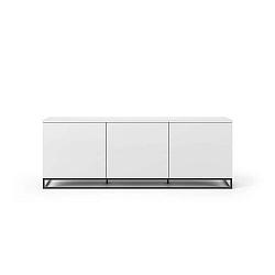 Bílý televizní stolek s černými kovovými nohami TemaHome Join, 180 x 65 cm