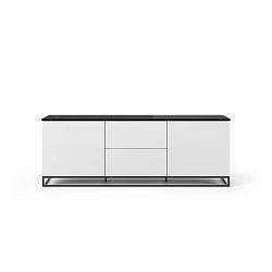 Bílý televizní stolek s tmavou deskou v mramorovém dekoru s černými nohami TemaHome Join, 180 x 65 cm