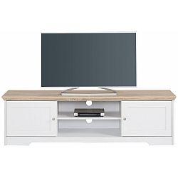 Bílý TV stolek s deskou v dekoru dubového dřeva Støraa Annie, 160x45cm