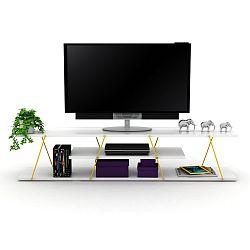 Bílý TV stolek se žlutým detailem Rafevi Tars