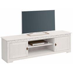 Bílý TV stolek z borovicového dřeva  Støraa Lando Low