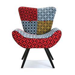 Čalouněná židle s černými nohami Versa Patchwork Karlsen