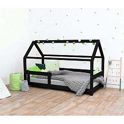 Černá dětská postel s bočnicemi ze smrkového dřeva Benlemi Tery, 120 x 160 cm