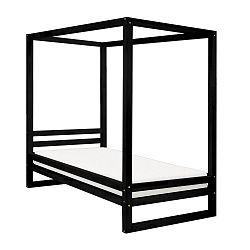 Černá dřevěná jednolůžková postel Benlemi Baldee, 200x90cm