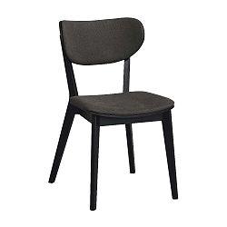 Černá dubová jídelní židle s tmavě šedým sedákem Folke Cato
