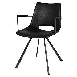 Černá jídelní židle s černým podnožím a područkami Canett Coronas