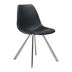 Černá jídelní židle s ocelovým podnožím DAN–FORM Pitch
