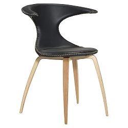 Černá kožená jídelní židle s přírodním podnožím DAN–FORM Flair